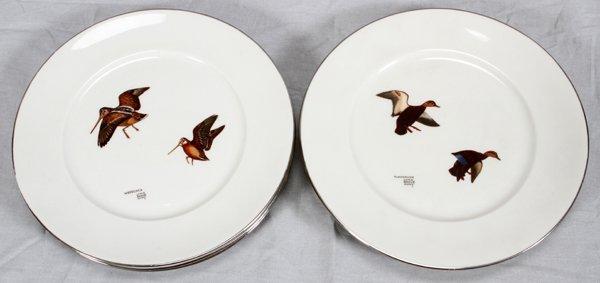 LYNN BOGUE HUNT WILD FOWL DINNER PLATES 6 PCS.