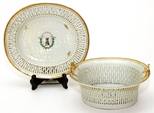 CHINESE EXPORT PORCELAIN CHESTNUT BASKET & STAND - 2