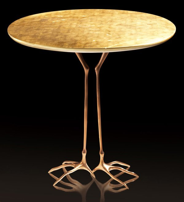 MERET OPPENHEIMBRONZE & GILT WOOD TRACCIA END TABLE