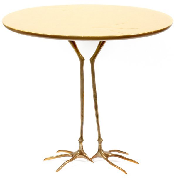 MERET OPPENHEIMBRONZE & GILT WOOD TRACCIA END TABLE - 2
