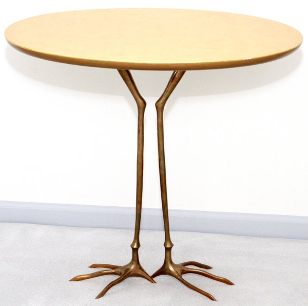 MERET OPPENHEIMBRONZE & GILT WOOD TRACCIA END TABLE - 8