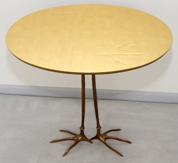 MERET OPPENHEIMBRONZE & GILT WOOD TRACCIA END TABLE - 9