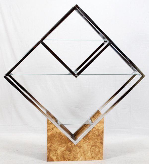 CHROME GLASS & OLIVEWOOD ETAGERE