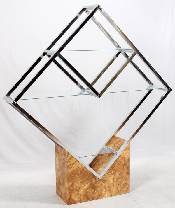 CHROME GLASS & OLIVEWOOD ETAGERE - 2