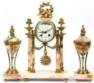 MARBLE  GILT METAL CLOCK GARNITURE SET