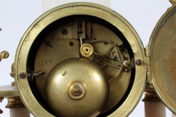 MARBLE & GILT METAL CLOCK GARNITURE SET - 3