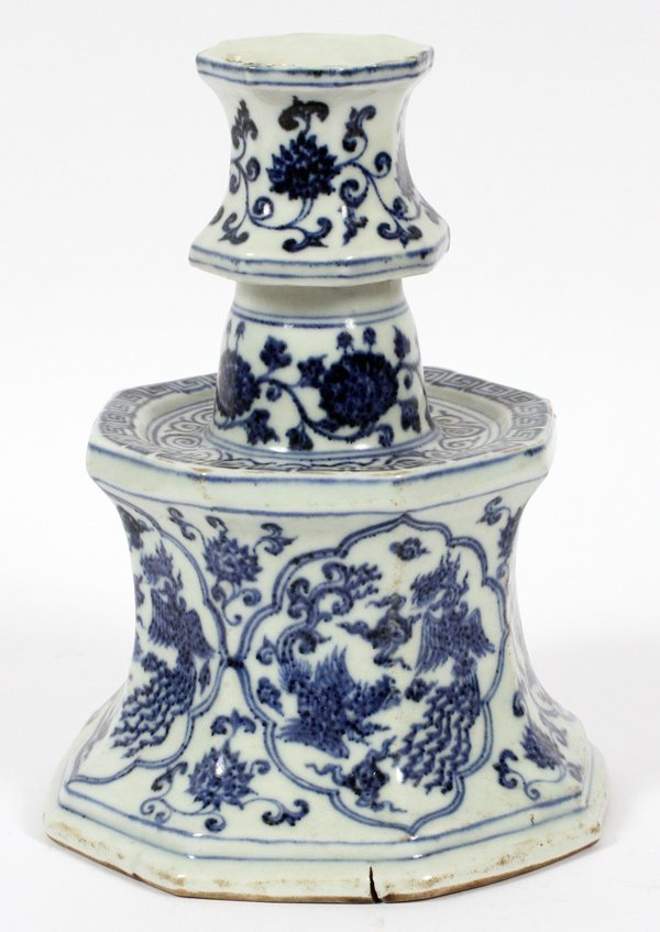 CHINESE PORCELAIN CANDLE HOLDER W/ PHOENIX BIRD