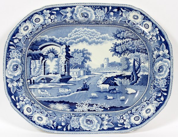 STAFFORDSHIRE BLUE & WHITE TRANSFER PLATTER