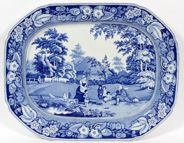 STAFFORDSHIRE BLUE & WHITE TRANSFER PLATTER 19TH C.
