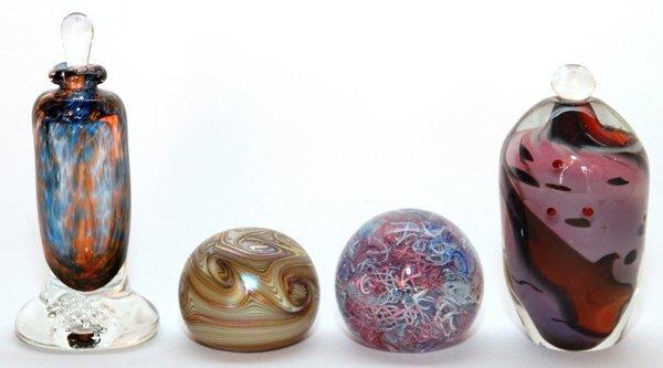 STUDIO GLASS BOTTLES & PAPERWEIGHTS C. 1980 - 2