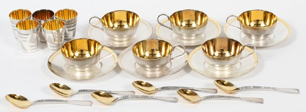 USSR SILVERPLATE ESPRESSO CUPS SAUCERS & SPOONS