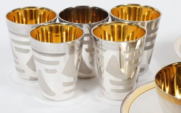 USSR SILVERPLATE ESPRESSO CUPS SAUCERS & SPOONS - 2