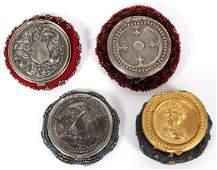 ART NOUVEAU BEADED FABRIC  SILVERPLATE COIN PURSES