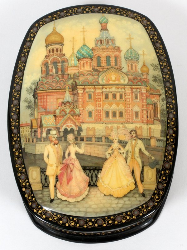 RUSSIAN LACQUER HINGED BOX