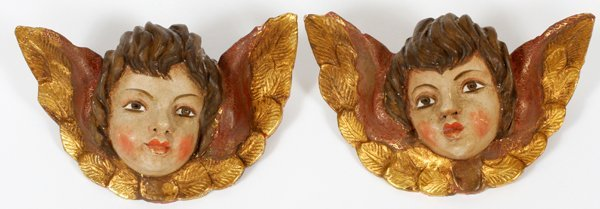 SPANISH CARVED & PAINTED WOOD ANGEL HEADS TWO