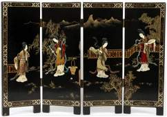 CHINESE BLACK LACQUER & HARDSTONE TABLE SCREEN