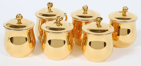 ROYAL WORCESTER PORCELAIN POT DE CREME SIX