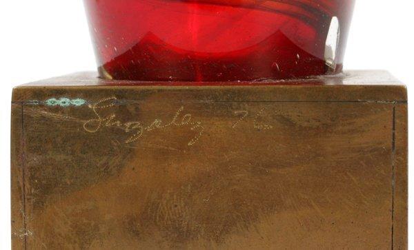 PAUL GONZALEZ RED GLASS ON BRASS BASE SCULPTURE - 2