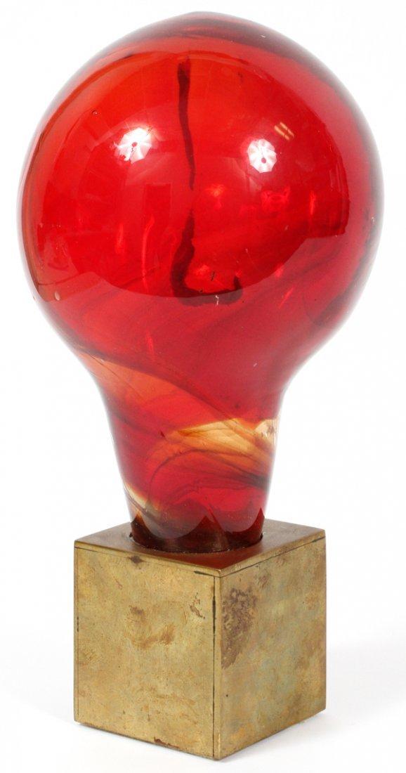 PAUL GONZALEZ RED GLASS ON BRASS BASE SCULPTURE - 3