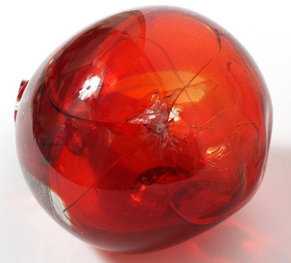PAUL GONZALEZ RED GLASS ON BRASS BASE SCULPTURE - 5