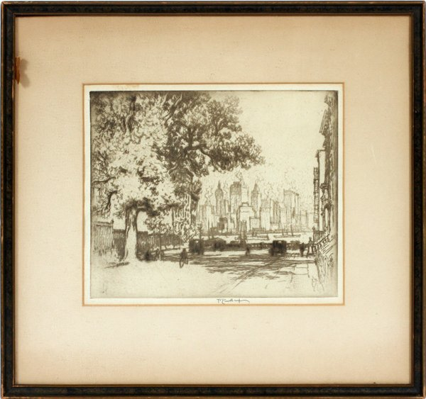 JOSEPH PENNELL ETCHING VIEW OF NEW YORK