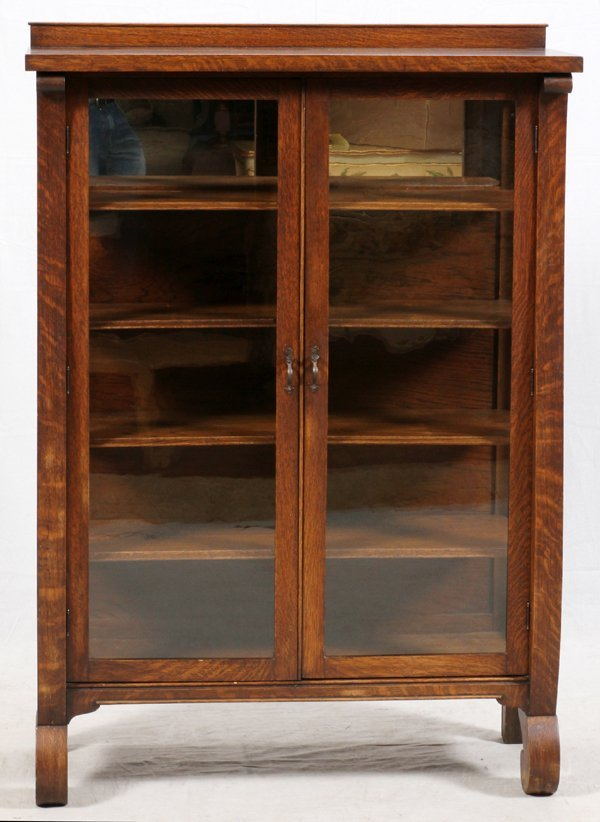 TWO DOOR GLASS AND OAK CHINA CABINET