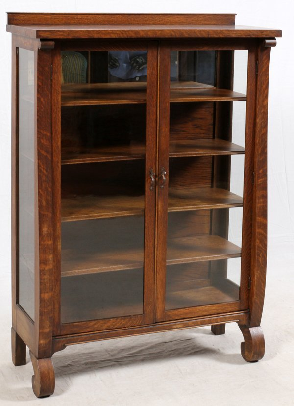 TWO DOOR GLASS AND OAK CHINA CABINET - 2