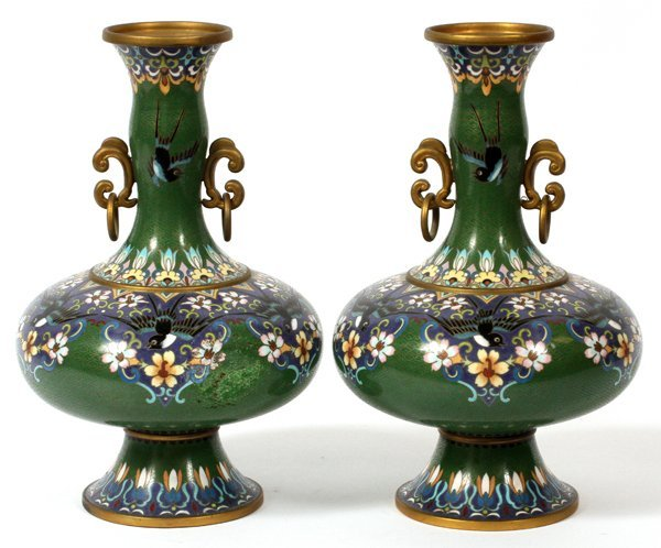 CHINESE CLOISONNE VASES PAIR