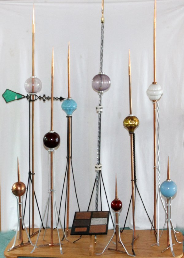 VINTAGE COPPER AND GLASS LIGHTNING ROD COLLECTION