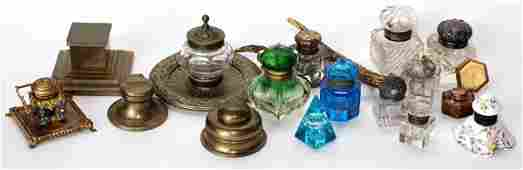ANTIQUE CUT GLASS AND BRASS INKWELL COLLECTION