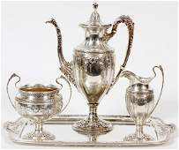 DOMINICK & HAFF STERLING COFFEE SERVICE W/ TRAY