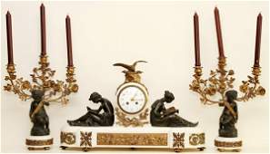 SAMUEL MARTI, FRENCH MARBLE & BRONZE FIGURAL CLOCK SET