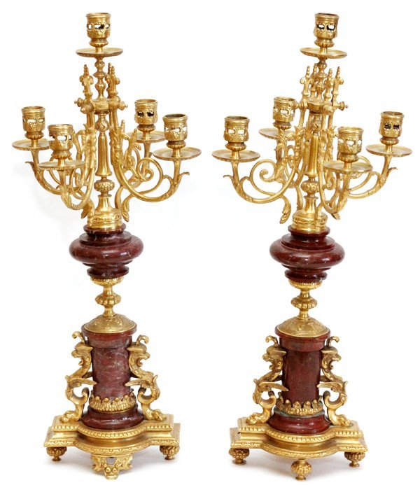 FRENCH BRONZE & ROUGE MARBLE FIVE-LIGHT CANDELABRA