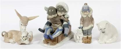 LLADRO PORCELAIN FIGURES AND ANIMALS 4 PIECES