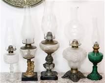 OIL LAMPS 19TH.C. FIVE PIECES