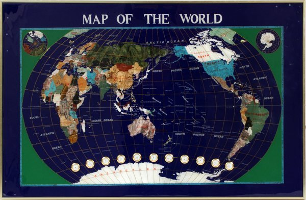 PIETRA DURA WORLD MAP W/ CLOCKS