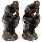 AFTER RODIN BRONZE CLAD FIGURAL BOOKENDS 20TH C