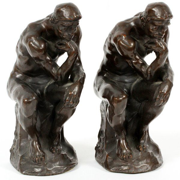 AFTER RODIN BRONZE CLAD FIGURAL BOOKENDS 20TH C.