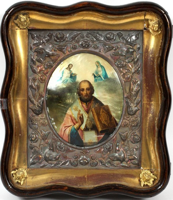 RUSSIAN ICON ON MOTHER-OF-PEARL 19TH.C.