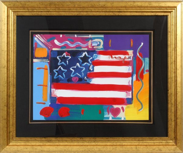 PETER MAX MIXED MEDIA ACRYLIC COLOR OFFSET LITHO