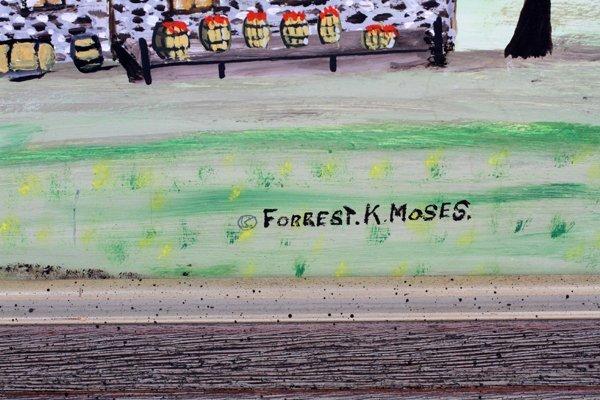 FORREST K. MOSES OIL ON MASONITE - 2