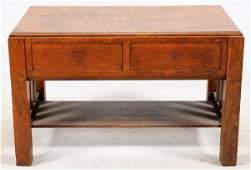 UNITED TABLE BED CO. ARTS & CRAFTS OAK TABLE BED