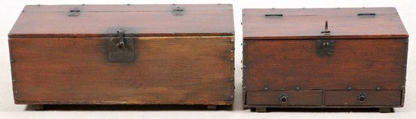 CHINESE PINE CHESTS 19TH C. 2 PIECES