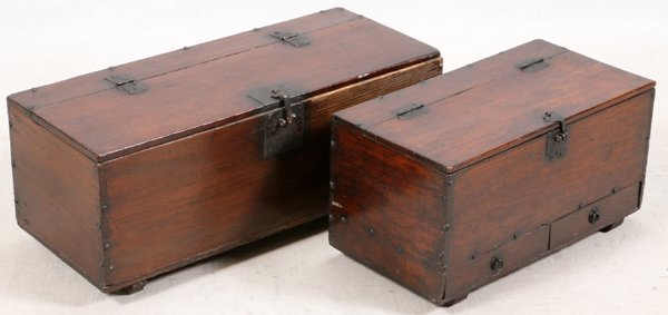 CHINESE PINE CHESTS 19TH C. 2 PIECES - 2