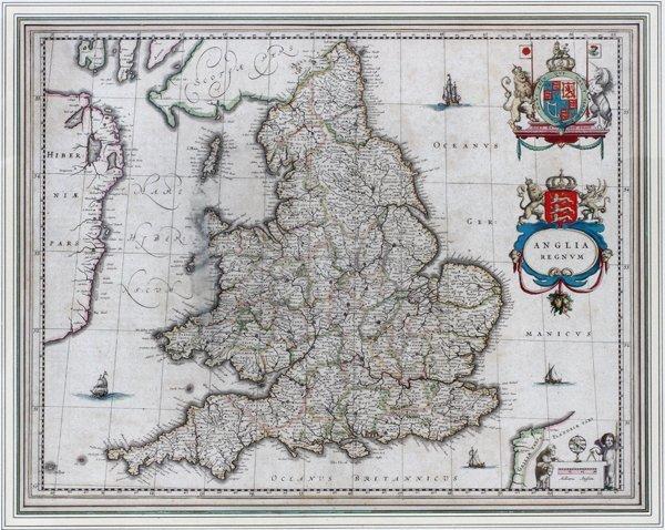 G. BLAEU ENGRAVED MAP ANGLICA REGNUM