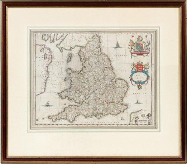 G. BLAEU ENGRAVED MAP ANGLICA REGNUM - 2
