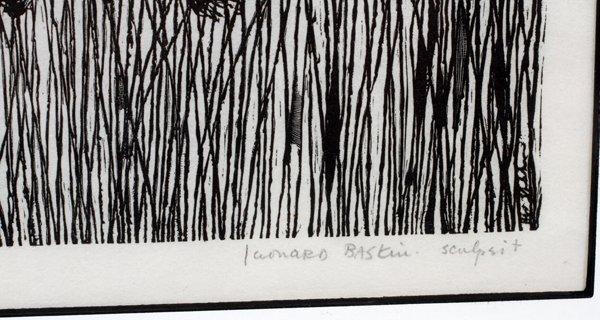 LEONARD BASKIN COLOR WOODCUT - 3