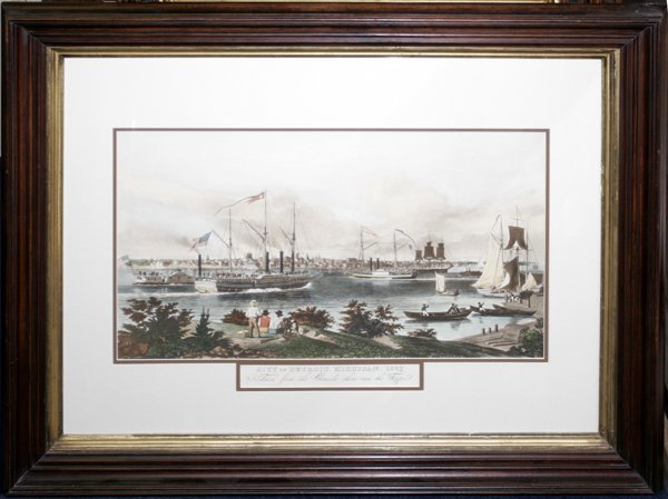 050003: LITHOGRAPH, C.1920, DETROIT FROM CANADA SHORE