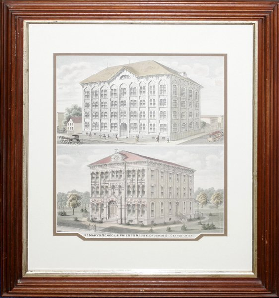 050005: LITHOGRAPH, ST. MARY'S SCHOOL & PRIEST'S HOUSE
