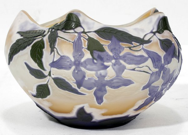 051002: CARVED CAMEO GLASS BOWL, SIGNED 'GALLE', C1900